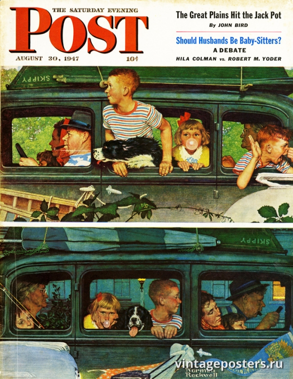 """Купить для интерьера на стену Постер """"Обложка журнала The Saturday Evening Post"""" США август 1947"""