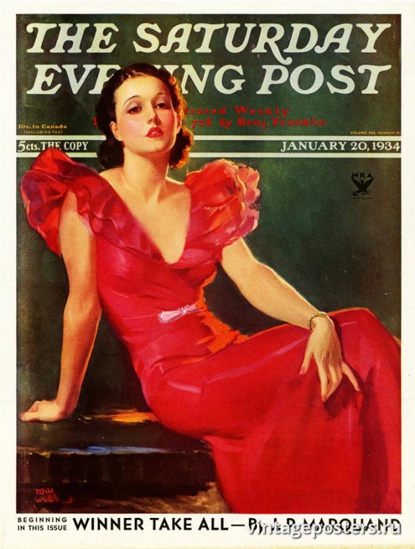 """Купить для интерьера на стену Постер """"Обложка журнала The Saturday Evening Post"""" США январь 1934"""