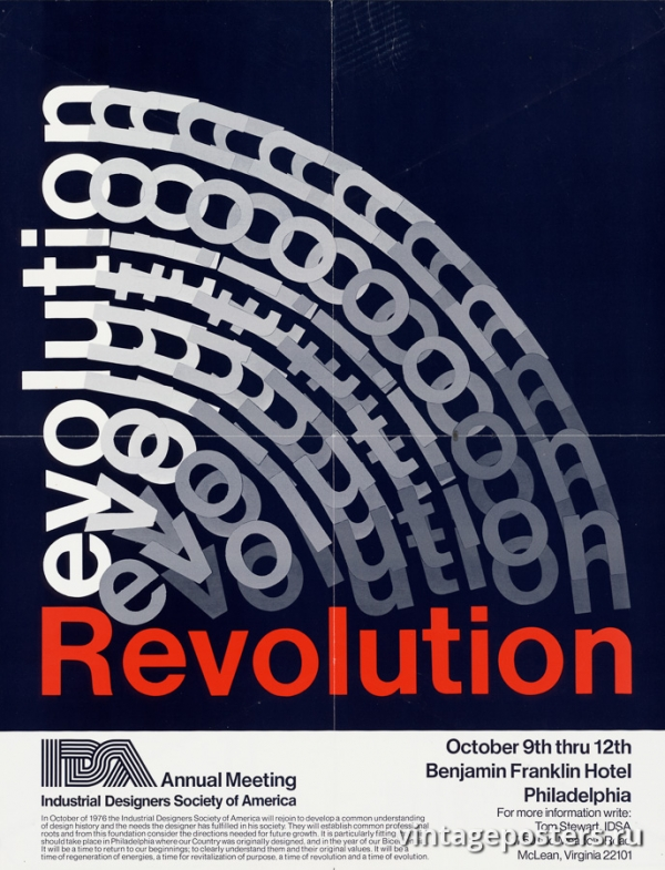 """Купить для интерьера на стену Постер """"Революция. Собрание общества промышленных дизайнеров Америки"""" США 1976"""