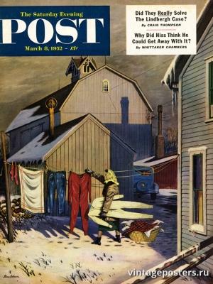 """Купить для интерьера на стену Постер """"Обложка журнала The Saturday Evening Post"""" США март 1952"""