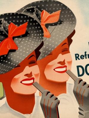 """Купить для интерьера на стену Постер """"Полезная, освежающая, вкусная Doublemint Gum"""" США 1935"""