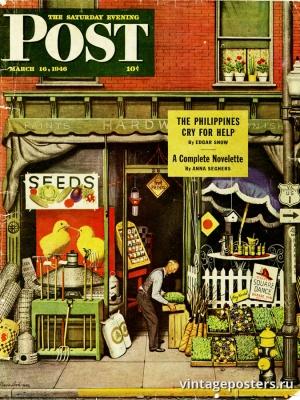 """Купить для интерьера на стену Постер """"Обложка журнала The Saturday Evening Post"""" США март 1946"""