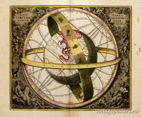 """Купить для интерьера на стену Постер """"Атлас «Гармония макрокосмоса. Зодиак»"""" Нидерланды 1708"""