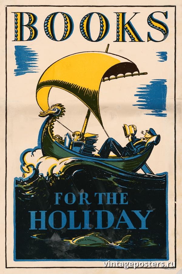 """Купить для интерьера на стену Постер """"Отдыхайте с книгами"""" США 1927"""