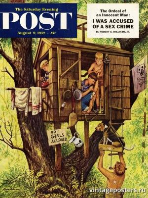 """Купить для интерьера на стену Постер """"Обложка журнала The Saturday Evening Post"""" США август 1952"""