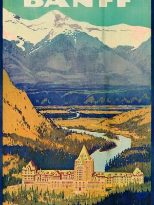"""Купить для интерьера на стену Постер """"Город Банф. Канадские Скалистые горы"""" Канада 1952"""