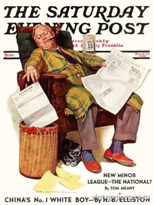 """Купить для интерьера на стену Постер """"Обложка журнала The Saturday Evening Post"""" США март 1938"""