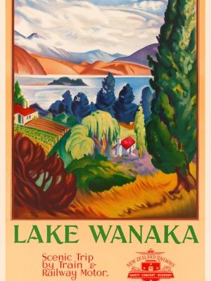 """Купить для интерьера на стену Постер """"Озеро Ванака — живописное путешествие на поезде"""" Новая Зеландия 1947"""