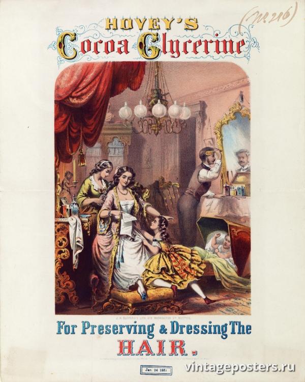 """Купить для интерьера на стену Постер """"Кокосовое масло с глицерином для сохранения и укладки волос"""" США 1860"""