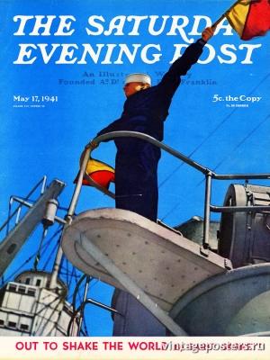 """Купить для интерьера на стену Постер """"Обложка журнала The Saturday Evening Post"""" США май 1941"""