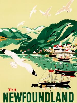 """Купить для интерьера на стену Постер """"Посетите Ньюфаундленд"""" Канада 1954"""