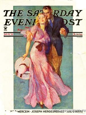 """Купить для интерьера на стену Постер """"Обложка журнала The Saturday Evening Post"""" США июль 1934"""