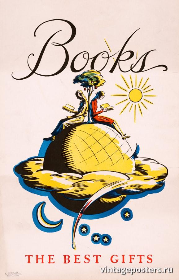 """Купить для интерьера на стену Постер """"Книги — лучшие подарки"""" США 1927"""
