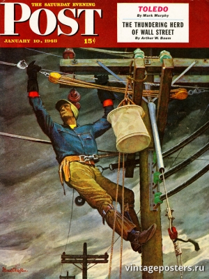 """Купить для интерьера на стену Постер """"Обложка журнала The Saturday Evening Post"""" США январь 1948"""