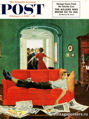 """Купить для интерьера на стену Постер """"Обложка журнала The Saturday Evening Post"""" США февраль 1954"""