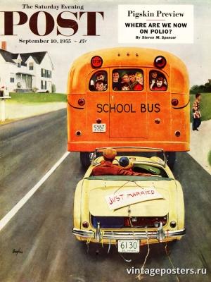 """Купить для интерьера на стену Постер """"Обложка журнала The Saturday Evening Post"""" США сентябрь 1955"""