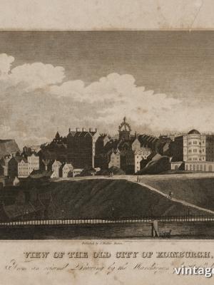 """Купить для интерьера на стену Постер """"Вид старого города Эдинбурга"""" США 1850"""