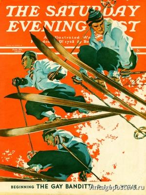 """Купить для интерьера на стену Постер """"Обложка журнала The Saturday Evening Post"""" США февраль 1938"""