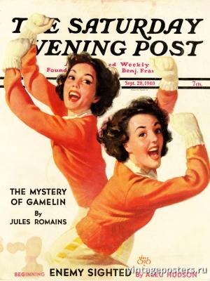 """Купить для интерьера на стену Постер """"Обложка журнала The Saturday Evening Post"""" США сентябрь 1940"""
