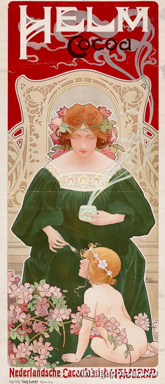 """Купить для интерьера на стену Постер """"Какао Хельм"""" Нидерланды 1899"""