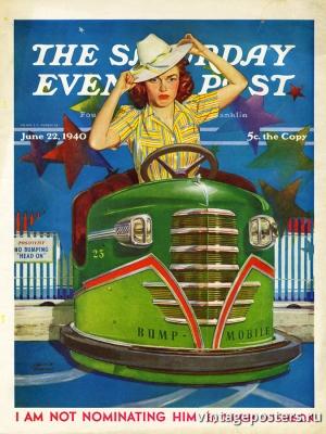 """Купить для интерьера на стену Постер """"Обложка журнала The Saturday Evening Post"""" США июнь 1940"""