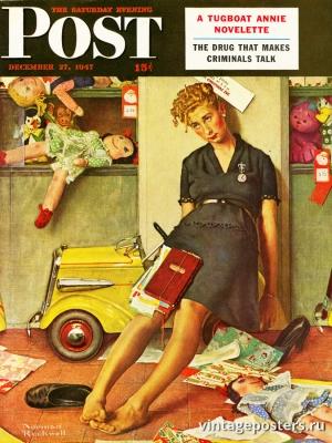 """Купить для интерьера на стену Постер """"Обложка журнала The Saturday Evening Post"""" США декабрь 1947"""
