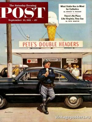 """Купить для интерьера на стену Постер """"Обложка журнала The Saturday Evening Post"""" США сентябрь 1951"""