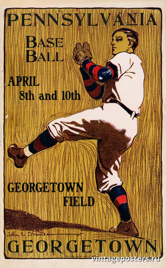 """Купить для интерьера на стену Постер """"Пенсильвания против Джорджтаун. Бейсбол"""" США 1905"""