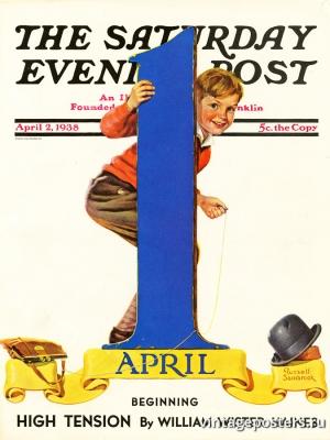 """Купить для интерьера на стену Постер """"Обложка журнала The Saturday Evening Post"""" США апрель 1938"""