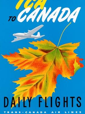 """Купить для интерьера на стену Постер """"Летайте «TCA» в Канаду. Дневные рейсы"""" Канада 1947"""