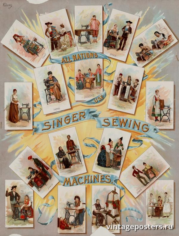 """Купить для интерьера на стену Постер """"Все страны используют швейные машины Singer"""" США 1892"""
