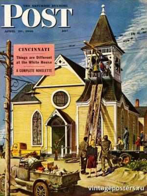 """Купить для интерьера на стену Постер """"Обложка журнала The Saturday Evening Post"""" США апрель 1946"""
