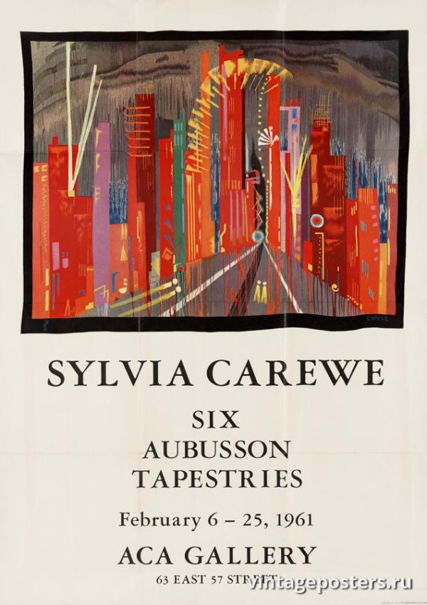 """Купить для интерьера на стену Постер """"Сильвия Карве, шесть гобеленов Обюссона, галерея ACA"""" США 1961"""