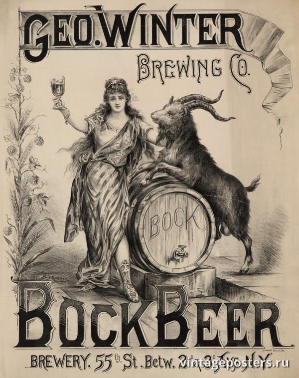 """Купить для интерьера на стену Постер """"Зимняя пивоварня Geo. Бок-бир"""" США 1900"""
