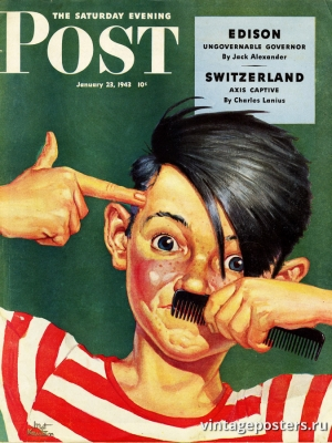 """Купить для интерьера на стену Постер """"Обложка журнала The Saturday Evening Post"""" США январь 1943"""