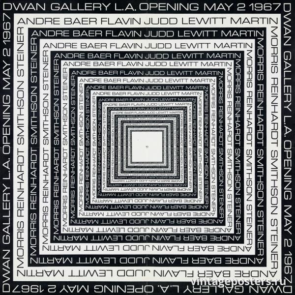 """Купить для интерьера на стену Постер """"Галерея Двэн. Открытие 2 мая"""" США 1967"""