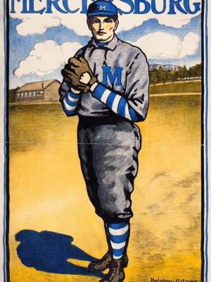 "Купить для интерьера на стену Постер ""Бейсболист Мерсерсбург"" США 1903"