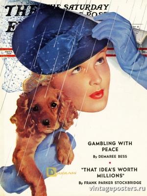 """Купить для интерьера на стену Постер """"Обложка журнала The Saturday Evening Post"""" США апрель 1939"""