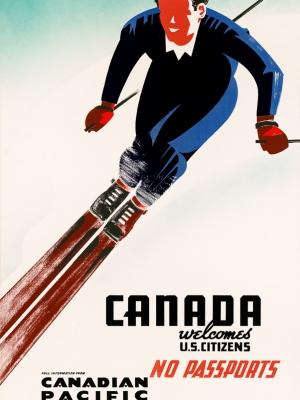 """Купить для интерьера на стену Постер """"Канада — для граждан США паспорта не нужны!"""" Канада 1947"""