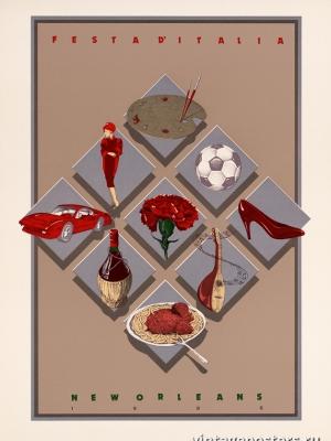 """Купить для интерьера на стену Постер """"Праздник Италии. Новый Орлеан"""" США 1986"""