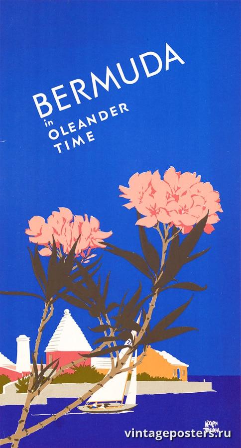 """Купить для интерьера на стену Постер """"Бермудские острова в период цветения олеандра"""" США 1952"""
