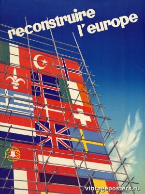 """Купить для интерьера на стену Постер """"Восстановим Европу"""" Франция 1947"""