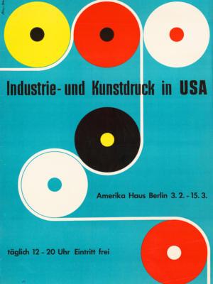 """Купить для интерьера на стену Постер """"Промышленная и художественная печать в США"""" Германия 1954"""