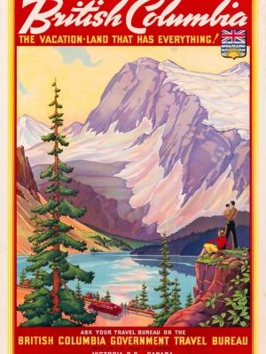 """Купить для интерьера на стену Постер """"Британская Колумбия — место отдыха для всех"""" Канада 1947"""