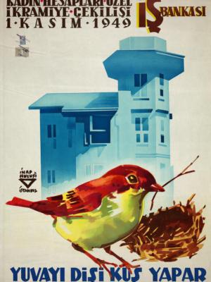 """Купить для интерьера на стену Постер """"Создайте свое гнездо. Банк для женщин"""" Турция 1949"""