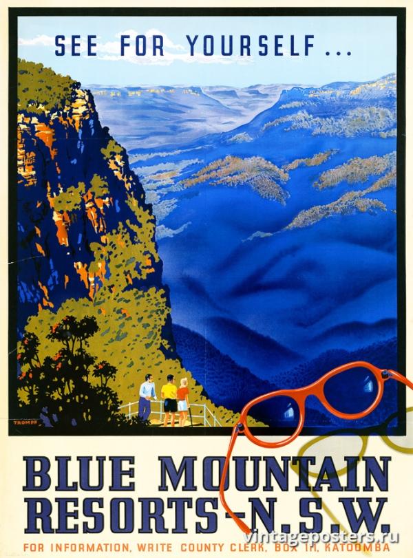 """Купить для интерьера на стену Постер """"Познай себя... Курорты в Голубых горах"""" Канада 1947"""