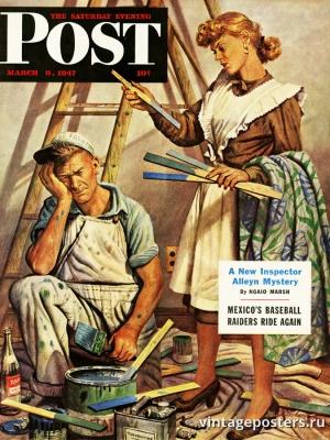"""Купить для интерьера на стену Постер """"Обложка журнала The Saturday Evening Post"""" США март 1947"""