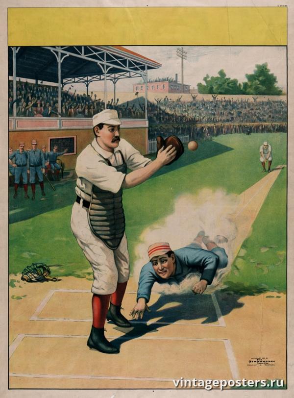 """Купить для интерьера на стену Постер """"Бейсбол"""" США 1897"""