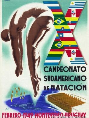 """Купить для интерьера на стену Постер """"X чемпионат по плаванию в Южной Америке"""" Уругвай 1949"""
