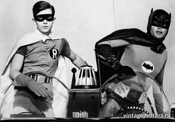 """Купить для интерьера на стену Постер """"т/с Бэтмен и Робин. Бэтмобиль"""" США 1966"""